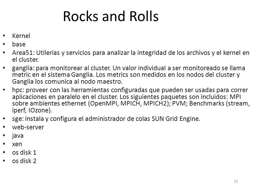 Rocks and Rolls Kernel base Area51: Utilerias y servicios para analizar la integridad de los archivos y el kernel en el cluster. ganglia: para monitor
