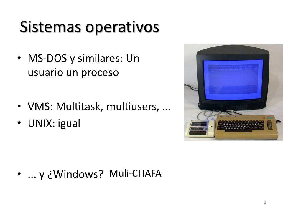 Sistemas operativos MS-DOS y similares: Un usuario un proceso VMS: Multitask, multiusers,... UNIX: igual... y ¿Windows? 2 Muli-CHAFA