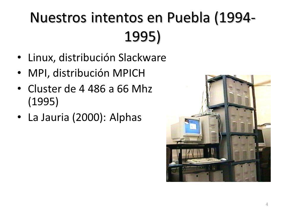 Nuestros intentos en Puebla (1994- 1995) Linux, distribución Slackware MPI, distribución MPICH Cluster de 4 486 a 66 Mhz (1995) La Jauria (2000): Alph