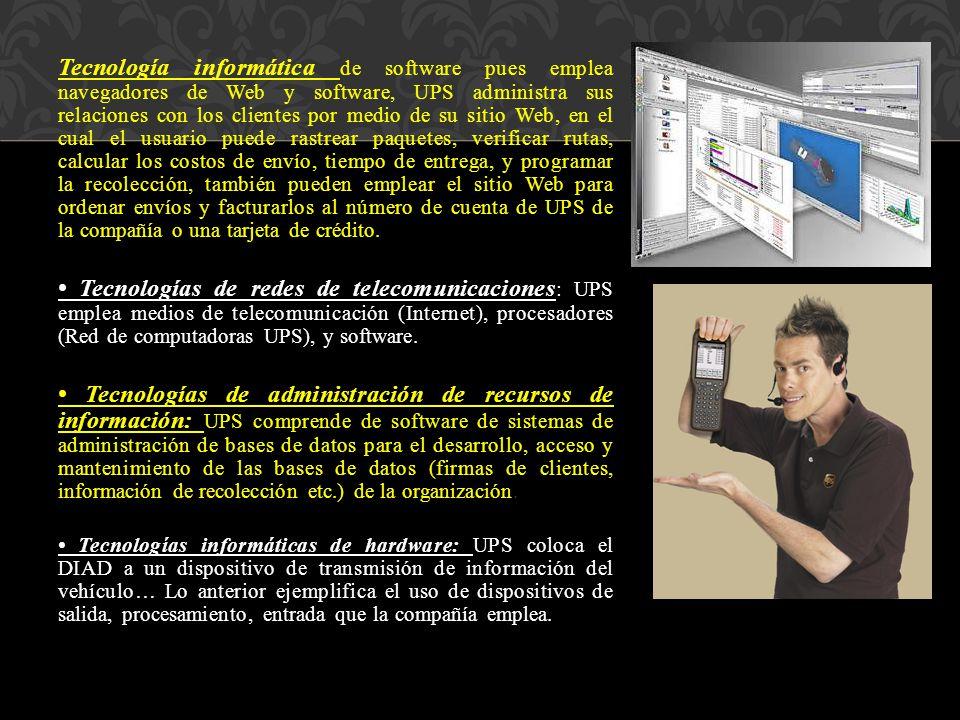 Tecnología informática de software pues emplea navegadores de Web y software, UPS administra sus relaciones con los clientes por medio de su sitio Web