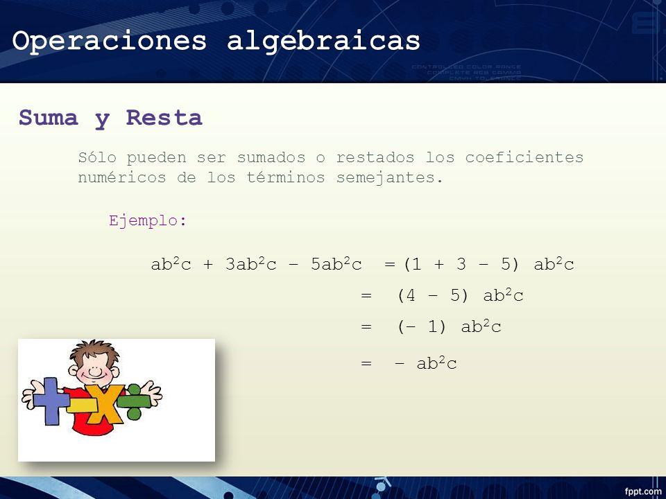 Suma y Resta Sólo pueden ser sumados o restados los coeficientes numéricos de los términos semejantes.