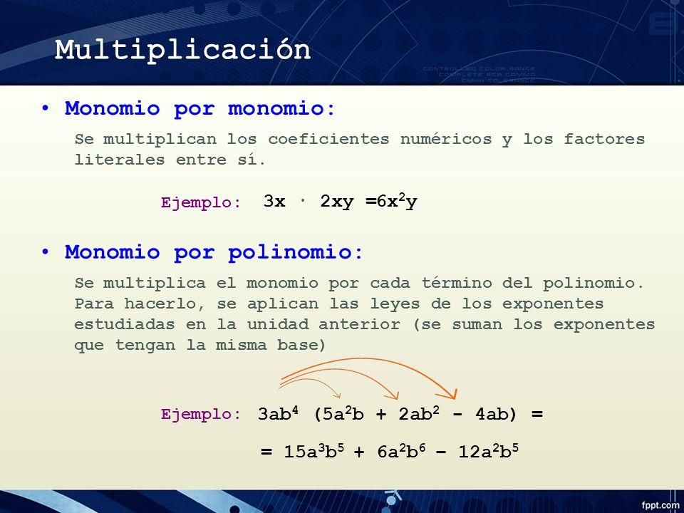 3x 2xy = Se multiplican los coeficientes numéricos y los factores literales entre sí.