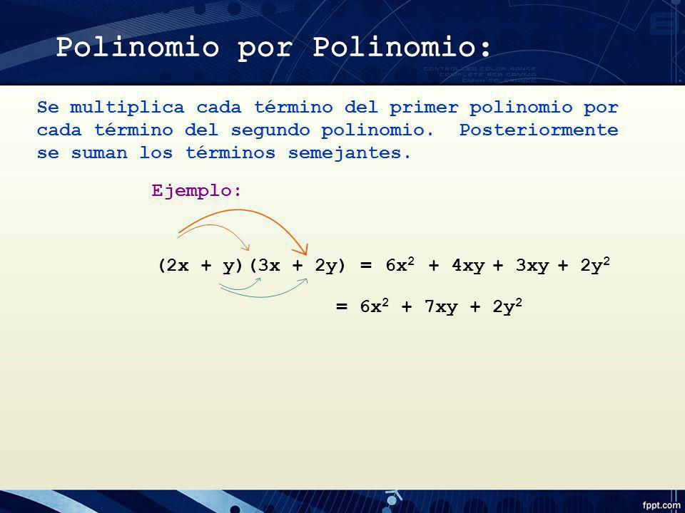 Se multiplica cada término del primer polinomio por cada término del segundo polinomio. Posteriormente se suman los términos semejantes. Ejemplo: (2x