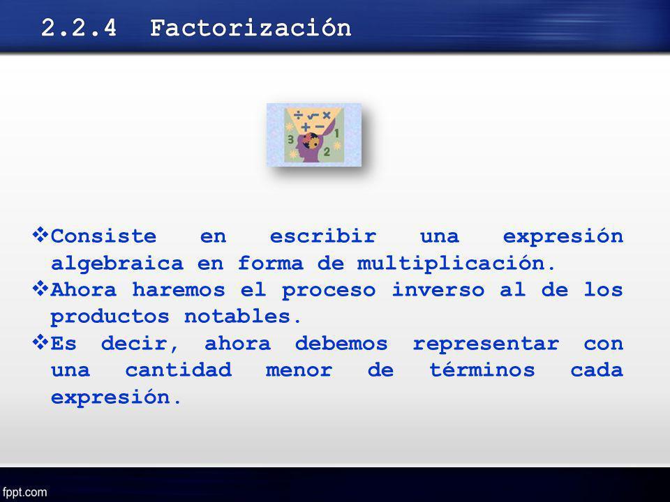 Consiste en escribir una expresión algebraica en forma de multiplicación. Ahora haremos el proceso inverso al de los productos notables. Es decir, aho