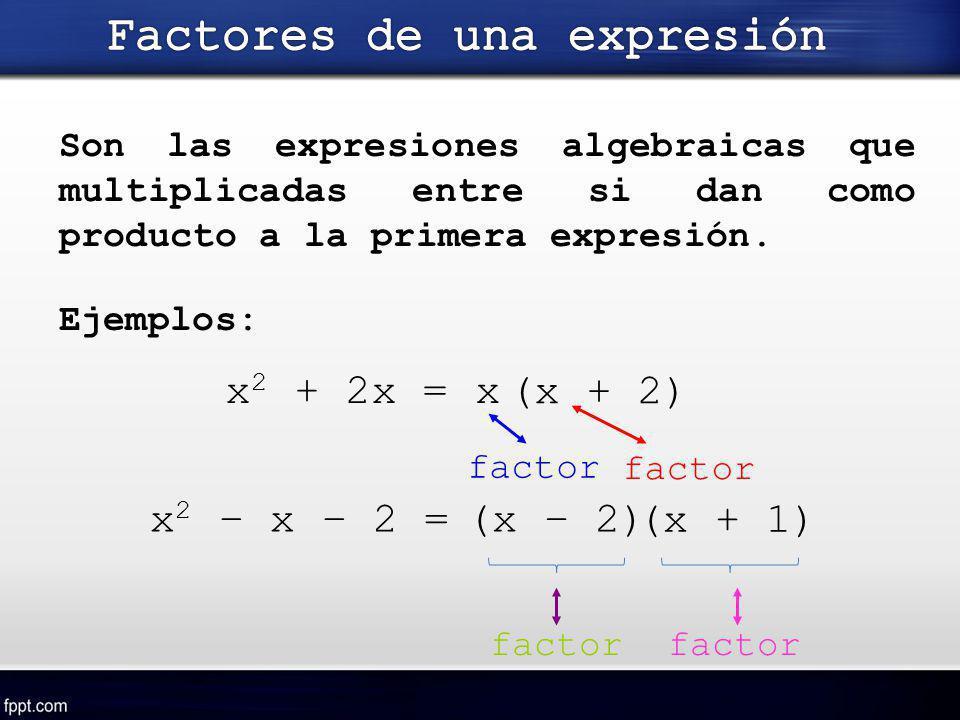 Son las expresiones algebraicas que multiplicadas entre si dan como producto a la primera expresión. x (x + 2) factor Ejemplos: factor (x – 2) (x + 1)
