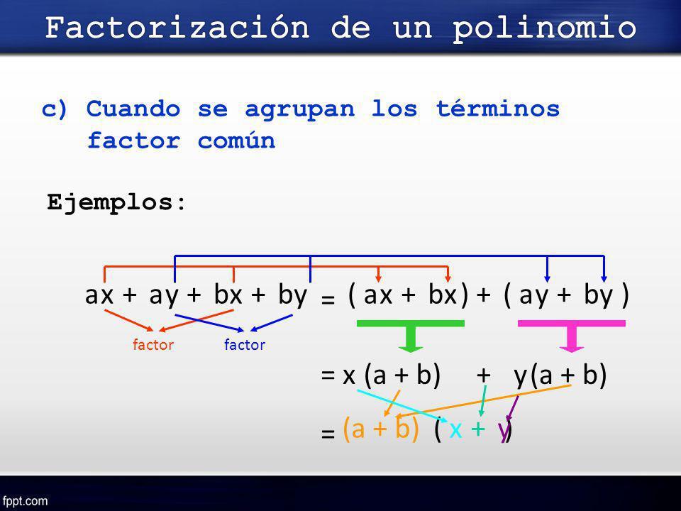 c)Cuando se agrupan los términos factor común Ejemplos: aaaa = xxxxbbbbyyyy++++++(()) factor = x(a + b)+y factor (a + b) = ( )xy+