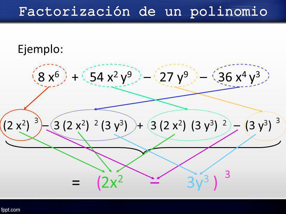 Ejemplo: 8 x 6 +54 x 2 y 9 –27 y 9 –36 x 4 y 3 (2 x 2 )(3 y 3 )– 3 3 3(2 x 2 ) 2 (3 y 3 )+3(2 x 2 ) 2 (3 y 3 )– =( )2x 2 3y 3 – 3