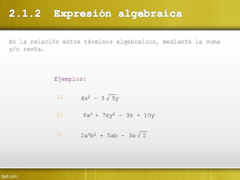 Es la relación entre términos algebraicos, mediante la suma y/o resta. Ejemplos: 1) 4x 2 – 3 5y 2) 8a 3 + 7xy 2 – 3x + 10y 3) 2a 3 b 2 + 5ab – 3a 2