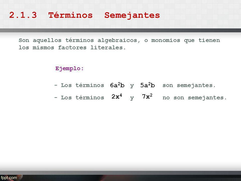 Son aquellos términos algebraicos, o monomios que tienen los mismos factores literales. Ejemplo: - Los términosyson semejantes. - Los términosy no son