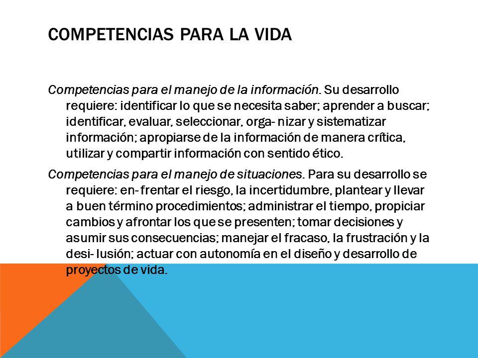 COMPETENCIAS PARA LA VIDA Competencias para el manejo de la información. Su desarrollo requiere: identificar lo que se necesita saber; aprender a busc