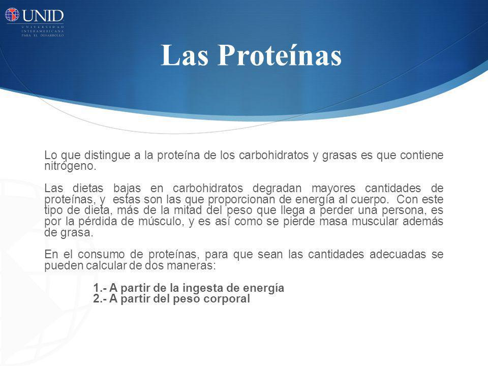 Las Proteínas Lo que distingue a la proteína de los carbohidratos y grasas es que contiene nitrógeno. Las dietas bajas en carbohidratos degradan mayor