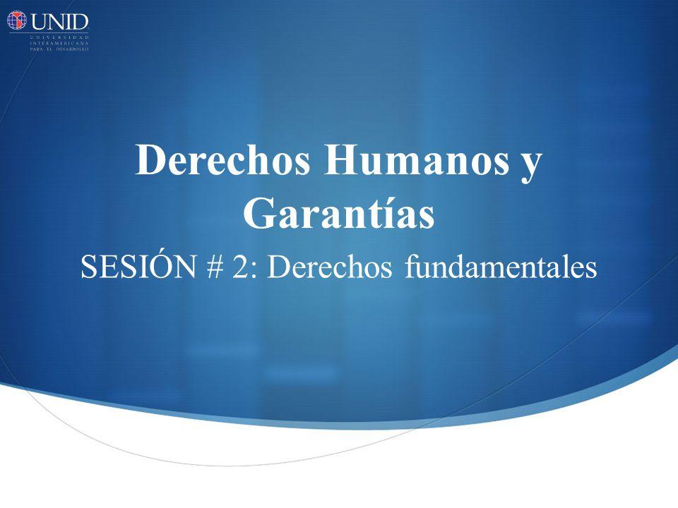 Derechos Humanos y Garantías SESIÓN # 2: Derechos fundamentales