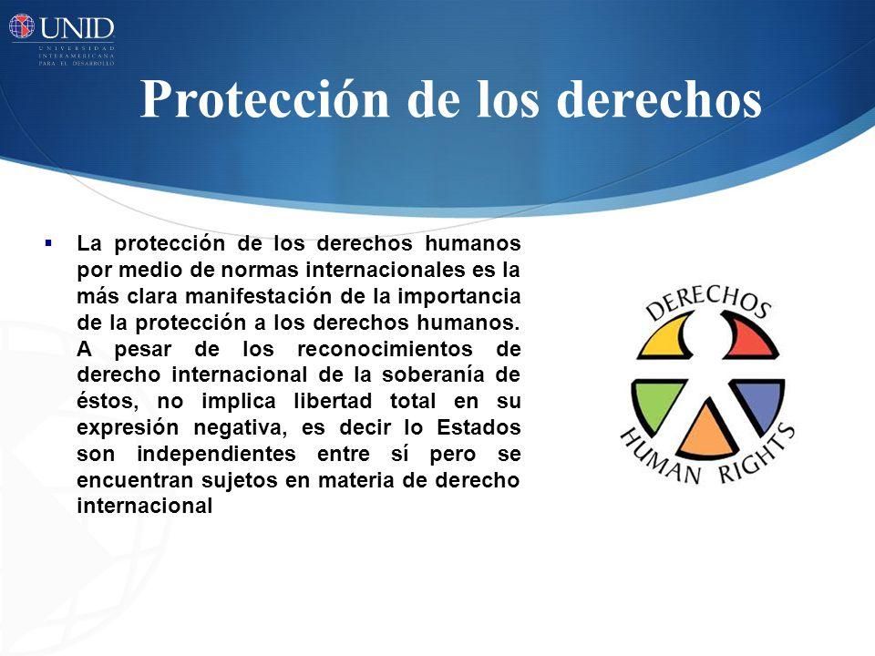 Protección de los derechos La protección de los derechos humanos por medio de normas internacionales es la más clara manifestación de la importancia d