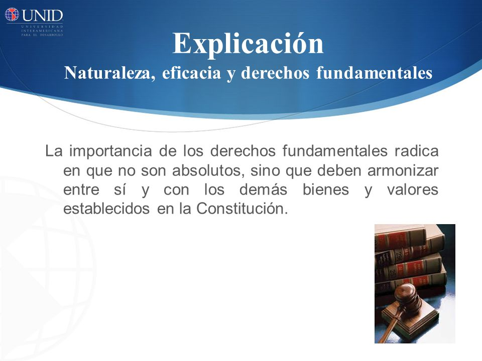 Explicación Naturaleza, eficacia y derechos fundamentales La importancia de los derechos fundamentales radica en que no son absolutos, sino que deben