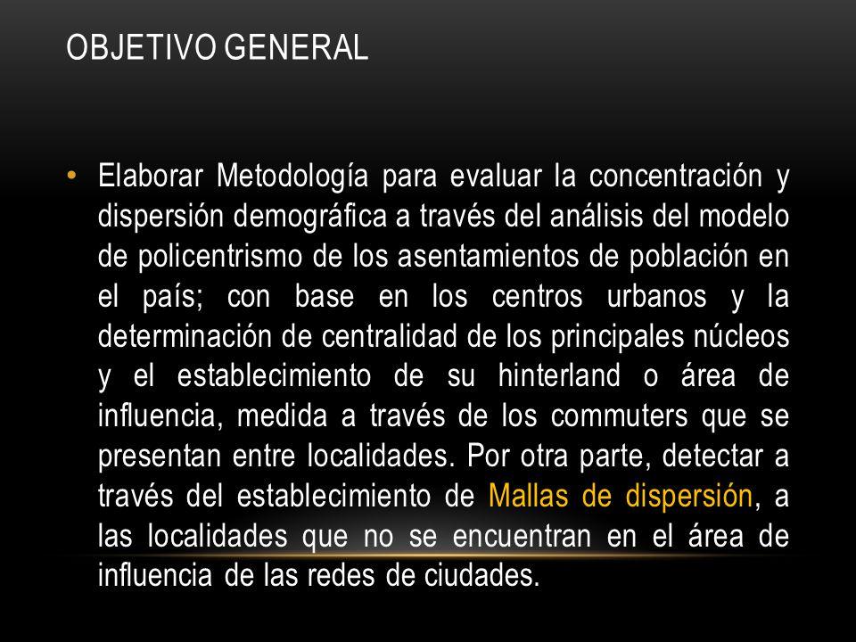 OBJETIVO GENERAL Elaborar Metodología para evaluar la concentración y dispersión demográfica a través del análisis del modelo de policentrismo de los