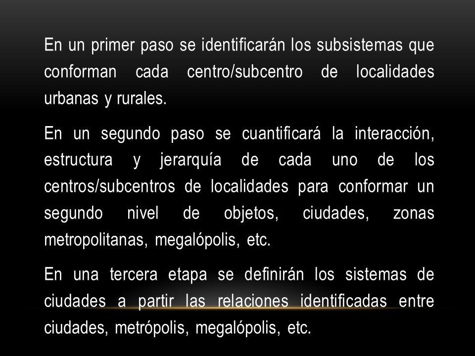 En un primer paso se identificarán los subsistemas que conforman cada centro/subcentro de localidades urbanas y rurales. En un segundo paso se cuantif