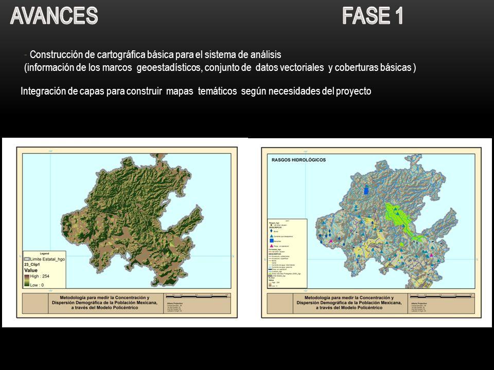 - Construcción de cartográfica básica para el sistema de análisis (información de los marcos geoestadísticos, conjunto de datos vectoriales y cobertur