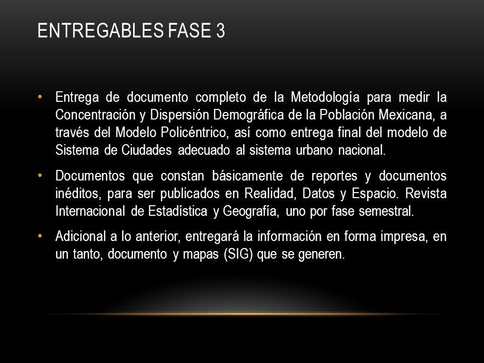 ENTREGABLES FASE 3 Entrega de documento completo de la Metodología para medir la Concentración y Dispersión Demográfica de la Población Mexicana, a tr