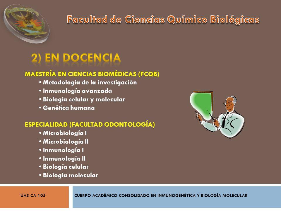 MAESTRÍA EN CIENCIAS BIOMÉDICAS (FCQB) Metodología de la investigación Inmunología avanzada Biología celular y molecular Genética humana ESPECIALIDAD