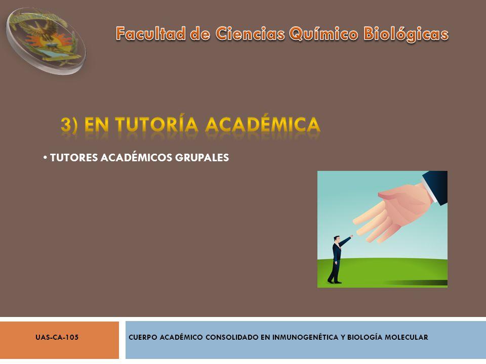 COORDINACIÓN DE ÁREAS ACADÉMICAS ACTUALIZACIÓN DE PLANES DE ESTUDIO CREACIÓN DE POSGRADOS REVISORES DE PROYECTOS DE INVESTIGACIÓN CUERPO ACADÉMICO CONSOLIDADO EN INMUNOGENÉTICA Y BIOLOGÍA MOLECULARUAS-CA-105