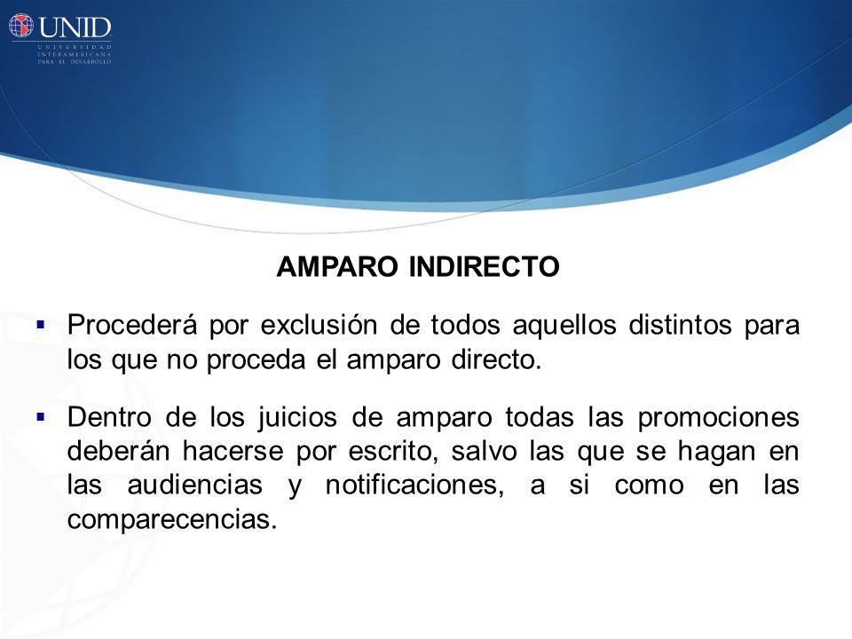 AMPARO INDIRECTO Procederá por exclusión de todos aquellos distintos para los que no proceda el amparo directo. Dentro de los juicios de amparo todas