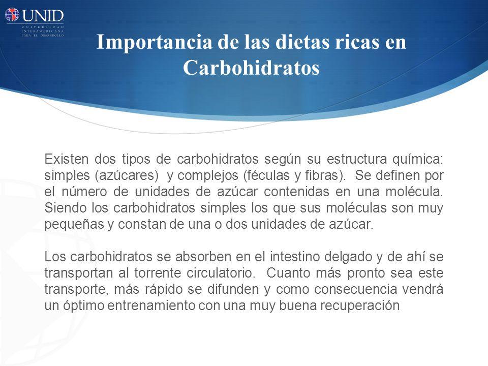 Importancia de las dietas ricas en Carbohidratos Existen dos tipos de carbohidratos según su estructura química: simples (azúcares) y complejos (fécul