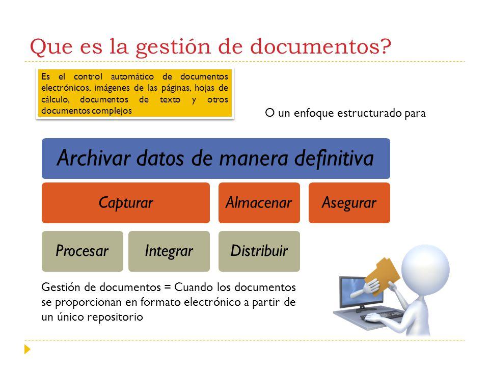 Que es la gestión de documentos? Archivar datos de manera definitiva CapturarProcesarIntegrarAlmacenarDistribuirAsegurar Es el control automático de d