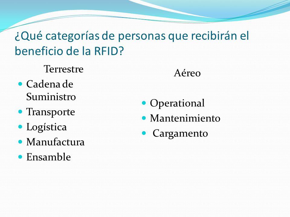 ¿Qué categorías de personas que recibirán el beneficio de la RFID.
