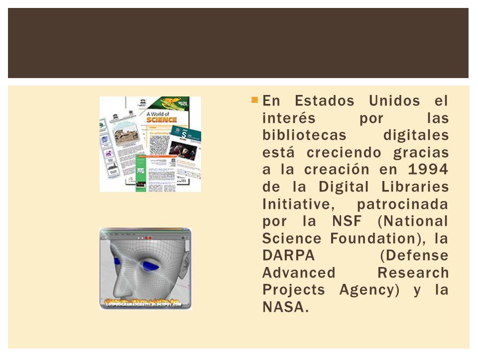 En Estados Unidos el interés por las bibliotecas digitales está creciendo gracias a la creación en 1994 de la Digital Libraries Initiative, patrocinada por la NSF (National Science Foundation), la DARPA (Defense Advanced Research Projects Agency) y la NASA.