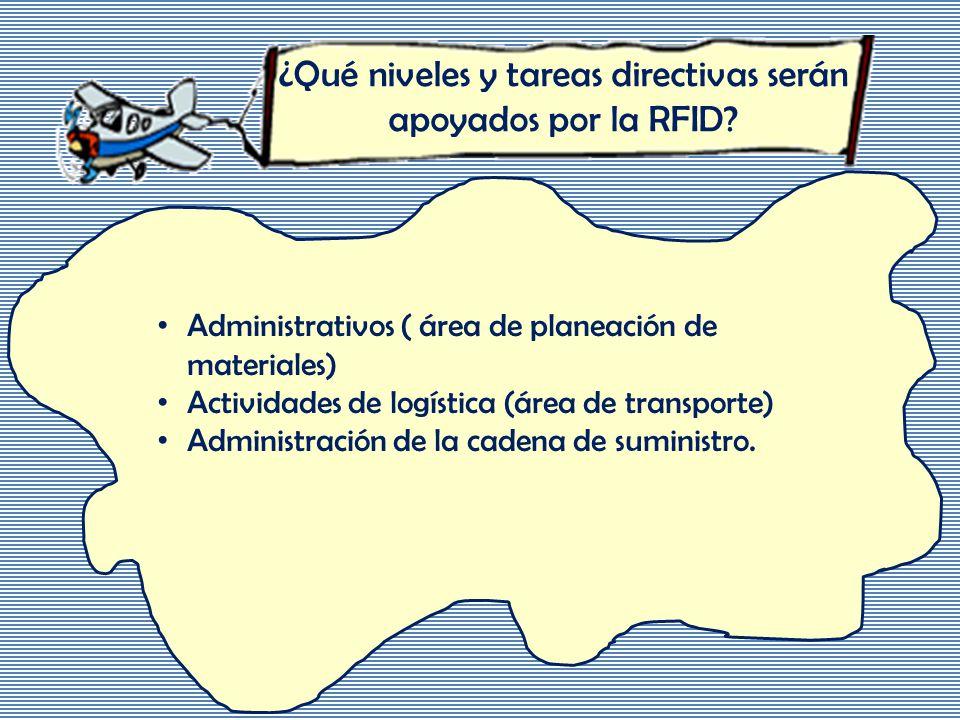 ¿Qué niveles y tareas directivas serán apoyados por la RFID.