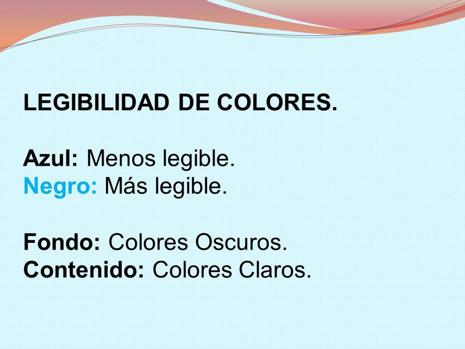 LEGIBILIDAD DE COLORES. Azul: Menos legible. Negro: Más legible. Fondo: Colores Oscuros. Contenido: Colores Claros.