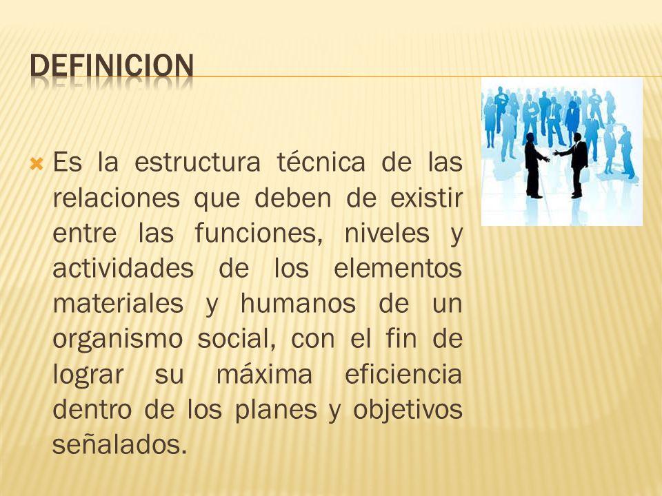 Es la estructura técnica de las relaciones que deben de existir entre las funciones, niveles y actividades de los elementos materiales y humanos de un