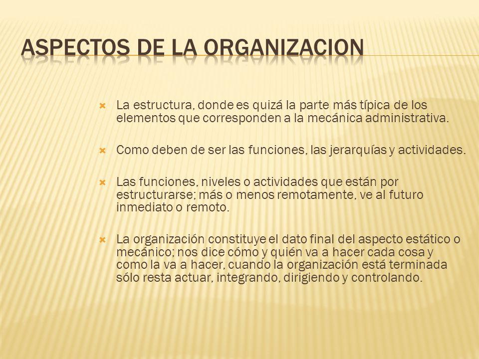 La estructura, donde es quizá la parte más típica de los elementos que corresponden a la mecánica administrativa. Como deben de ser las funciones, las