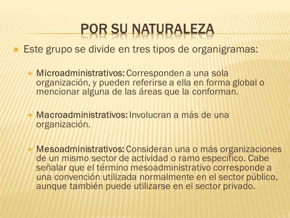 Este grupo se divide en tres tipos de organigramas: Microadministrativos: Corresponden a una sola organización, y pueden referirse a ella en forma glo