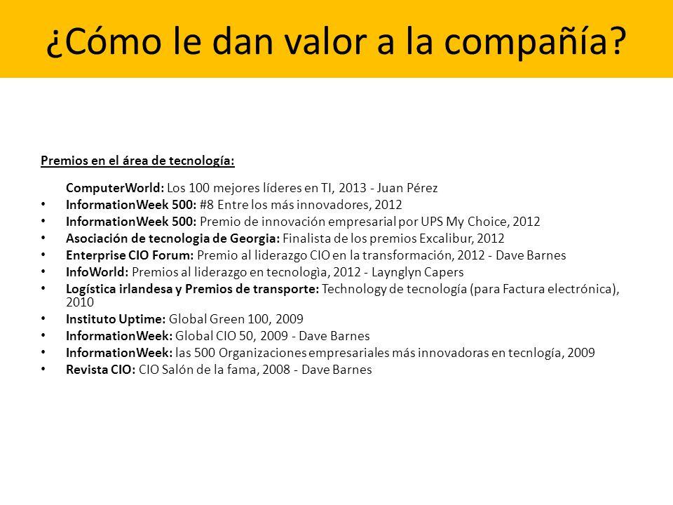 ¿Cómo le dan valor a la compañía? Premios en el área de tecnología: ComputerWorld: Los 100 mejores líderes en TI, 2013 - Juan Pérez InformationWeek 50