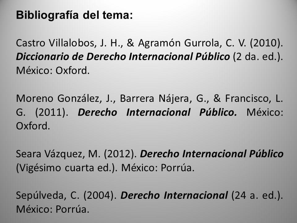 Bibliografía del tema: Castro Villalobos, J. H., & Agramón Gurrola, C. V. (2010). Diccionario de Derecho Internacional Público (2 da. ed.). México: Ox