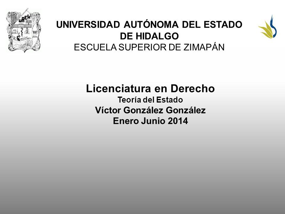 UNIVERSIDAD AUTÓNOMA DEL ESTADO DE HIDALGO ESCUELA SUPERIOR DE ZIMAPÁN Licenciatura en Derecho Teoría del Estado Víctor González González Enero Junio 2014
