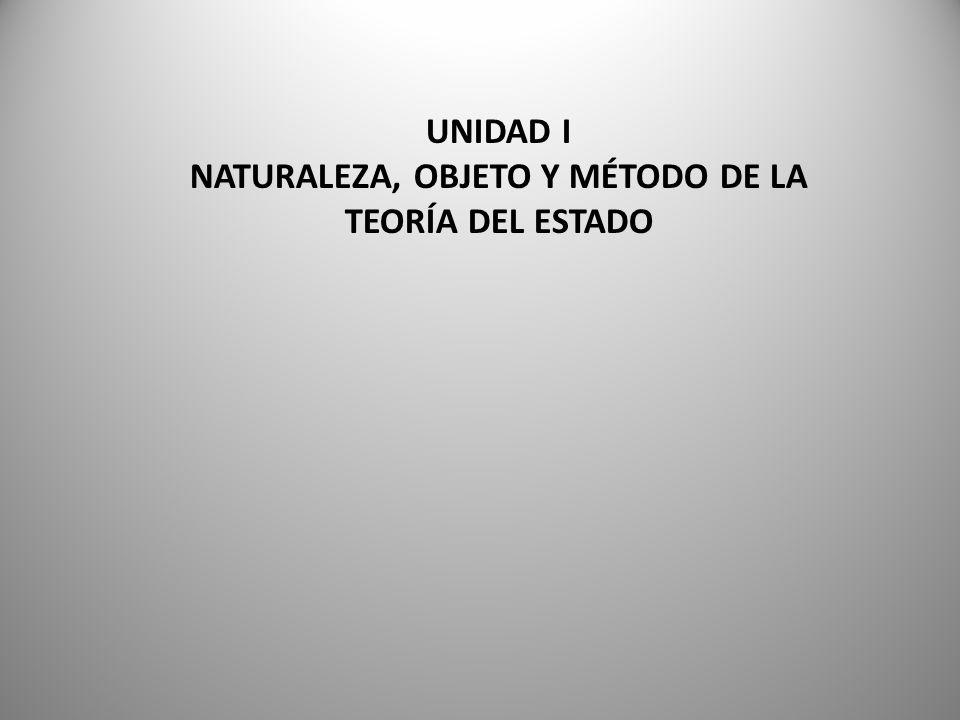 UNIDAD I NATURALEZA, OBJETO Y MÉTODO DE LA TEORÍA DEL ESTADO