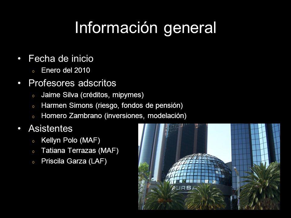 Información general Fecha de inicio o Enero del 2010 Profesores adscritos o Jaime Silva (créditos, mipymes) o Harmen Simons (riesgo, fondos de pensión) o Homero Zambrano (inversiones, modelación) Asistentes o Kellyn Polo (MAF) o Tatiana Terrazas (MAF) o Priscila Garza (LAF)