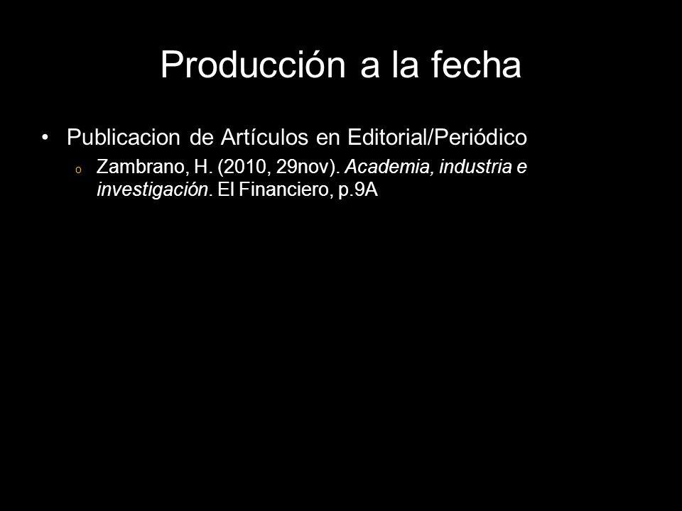 Publicacion de Artículos en Editorial/Periódico o Zambrano, H.