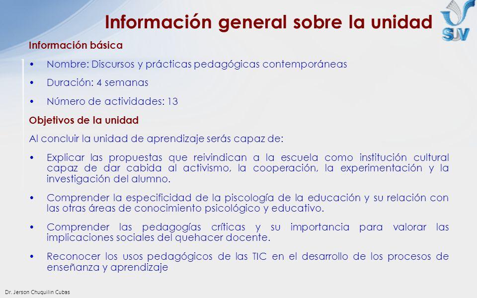 Dr. Jerson Chuquilin Cubas Información básica Nombre: Discursos y prácticas pedagógicas contemporáneas Duración: 4 semanas Número de actividades: 13 O