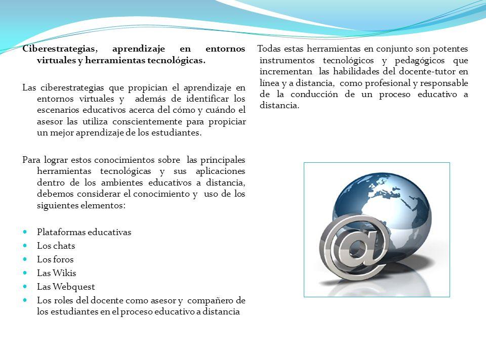 Ciberestrategias, aprendizaje en entornos virtuales y herramientas tecnológicas. Las ciberestrategias que propician el aprendizaje en entornos virtual