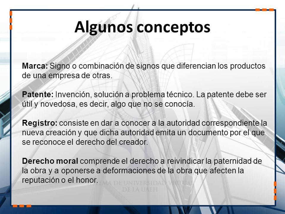 Marca: Signo o combinación de signos que diferencian los productos de una empresa de otras. Patente: Invención, solución a problema técnico. La patent