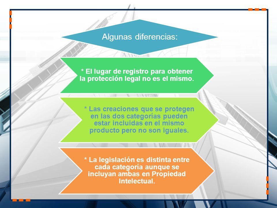 Algunas diferencias: * El lugar de registro para obtener la protección legal no es el mismo. * Las creaciones que se protegen en las dos categorías pu