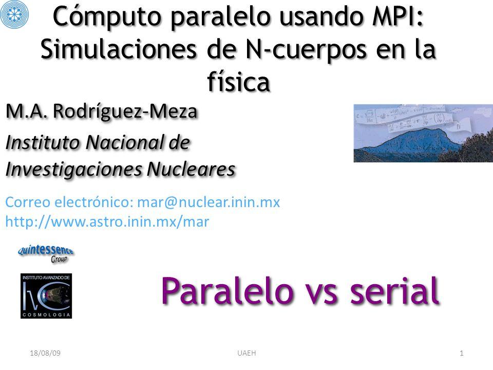 12 Protocolo Message-Passing Interface (MPI) pnbody: – Funciones 1.MPI_Bcast 2.MPI_Finalize 3.MPI_Barrier 4.MPI_Allreduce 5.MPI_Allgather 6.MPI_Sendrecv 7.MPI_Reduce 8.MPI_Send 9.MPI_Recv 10.MPI_Ssend 11.MPI_Abort 12.MPI_Gather 13.MPI_Init 14.MPI_Comm_Rank 15.MPI_Comm_size G pnbody: G Parámetros 1.