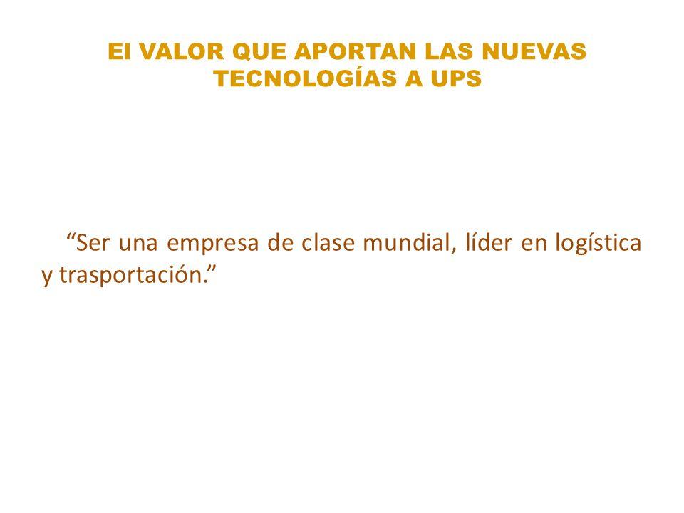 Ser una empresa de clase mundial, líder en logística y trasportación. El VALOR QUE APORTAN LAS NUEVAS TECNOLOGÍAS A UPS