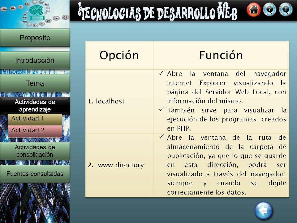 14 Propósito Introducción Tema Actividades de aprendizaje Actividades de consolidación Actividades de consolidación Fuentes consultadas Actividad 1 Actividad 2
