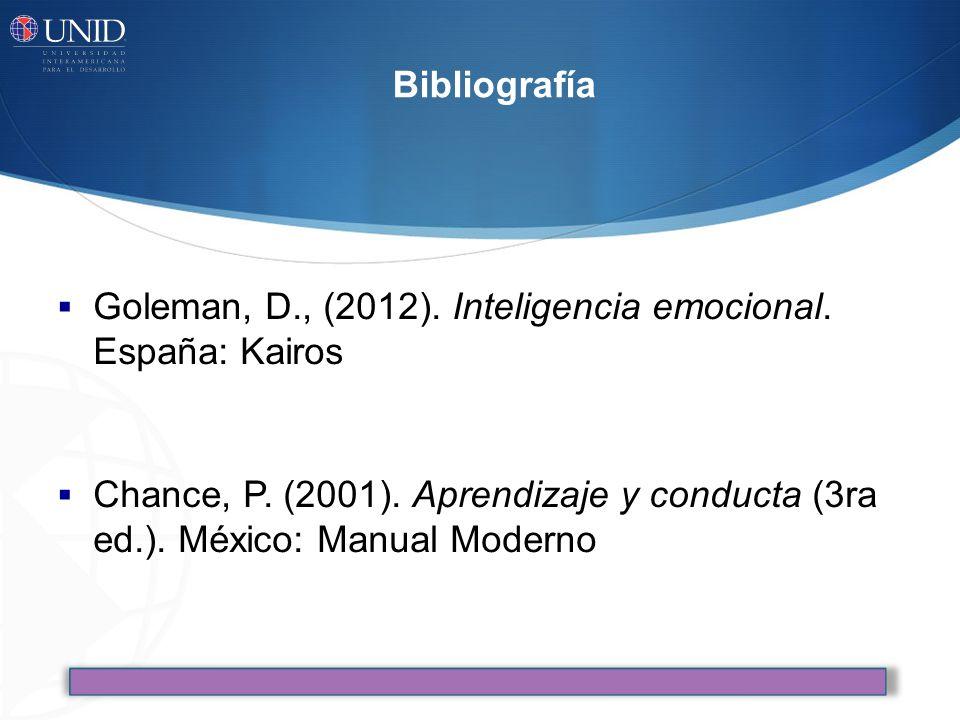 Bibliografía Goleman, D., (2012).Inteligencia emocional.