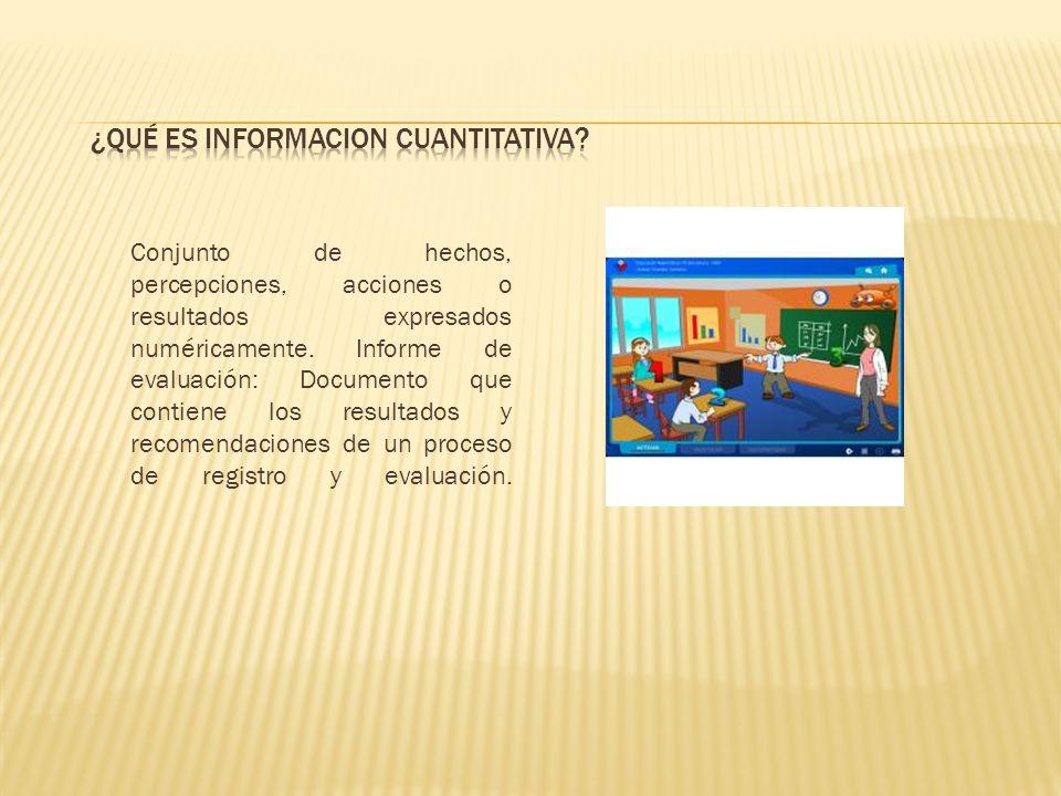 Conjunto de hechos, percepciones, acciones o resultados expresados numéricamente. Informe de evaluación: Documento que contiene los resultados y recom