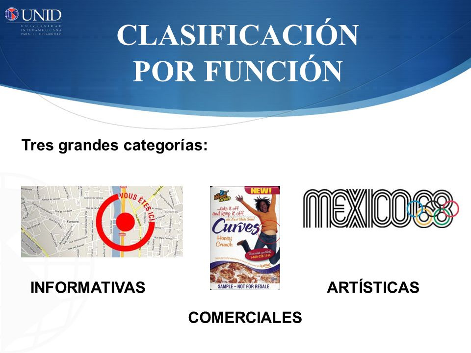 CLASIFICACIÓN POR FUNCIÓN INFORMATIVAS COMERCIALES ARTÍSTICAS Tres grandes categorías: